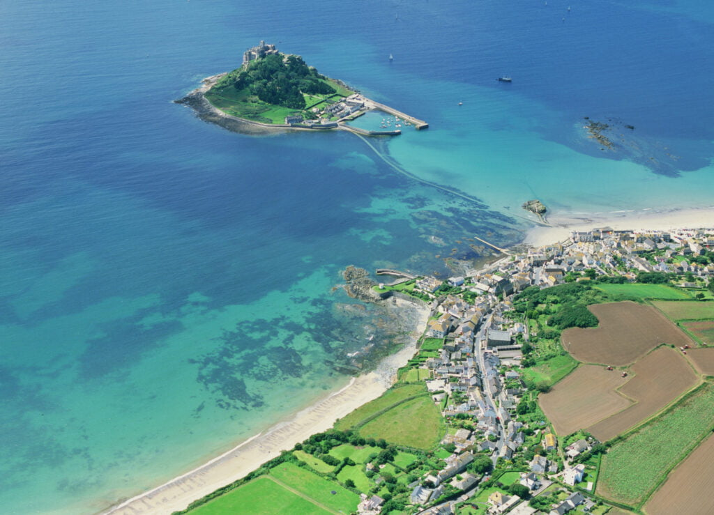 Aerial view of Marazion Beach in West Cornwall