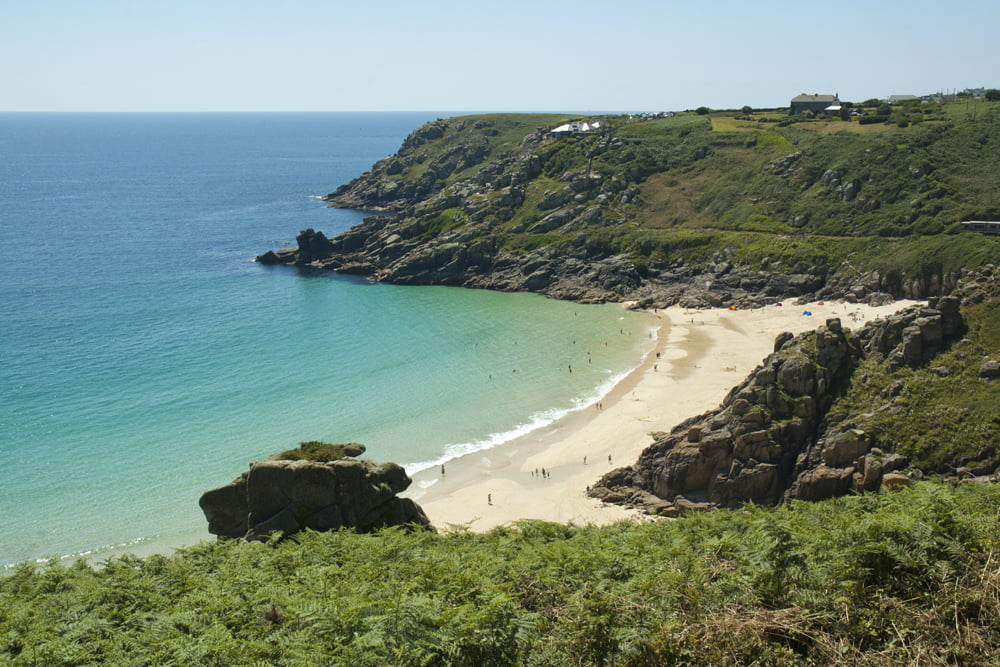 Porthcurno Beach in West Cornwall