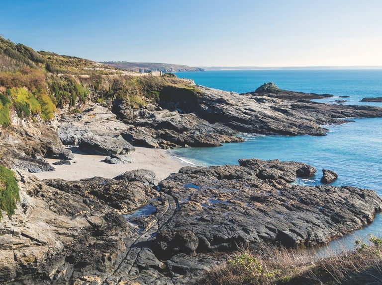 Overlooking the beach at Prussia Cove Cornwall England UK Europe