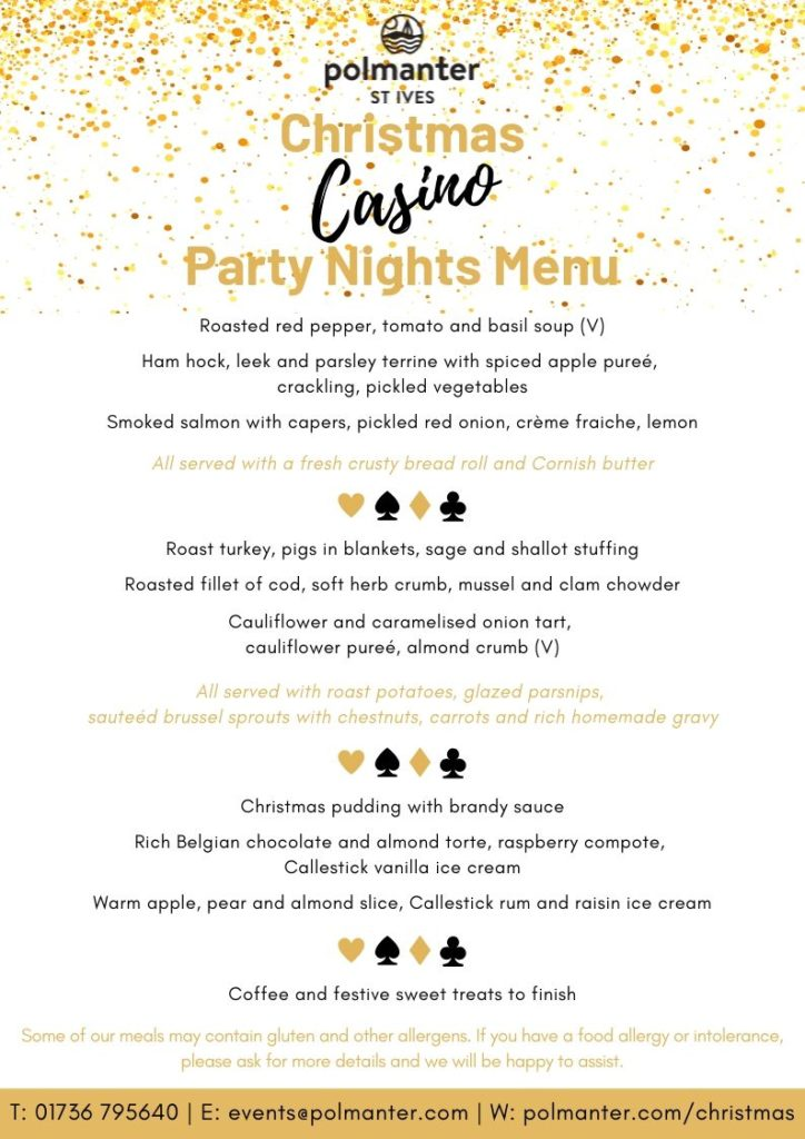 Polmanter Christmas Casino Party Nights Menu 2019