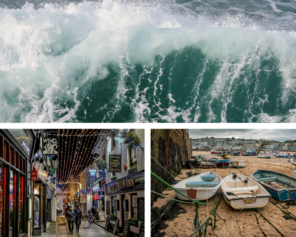 Trio of images showing St Ives and the sea on a Christmas and New Year holiday