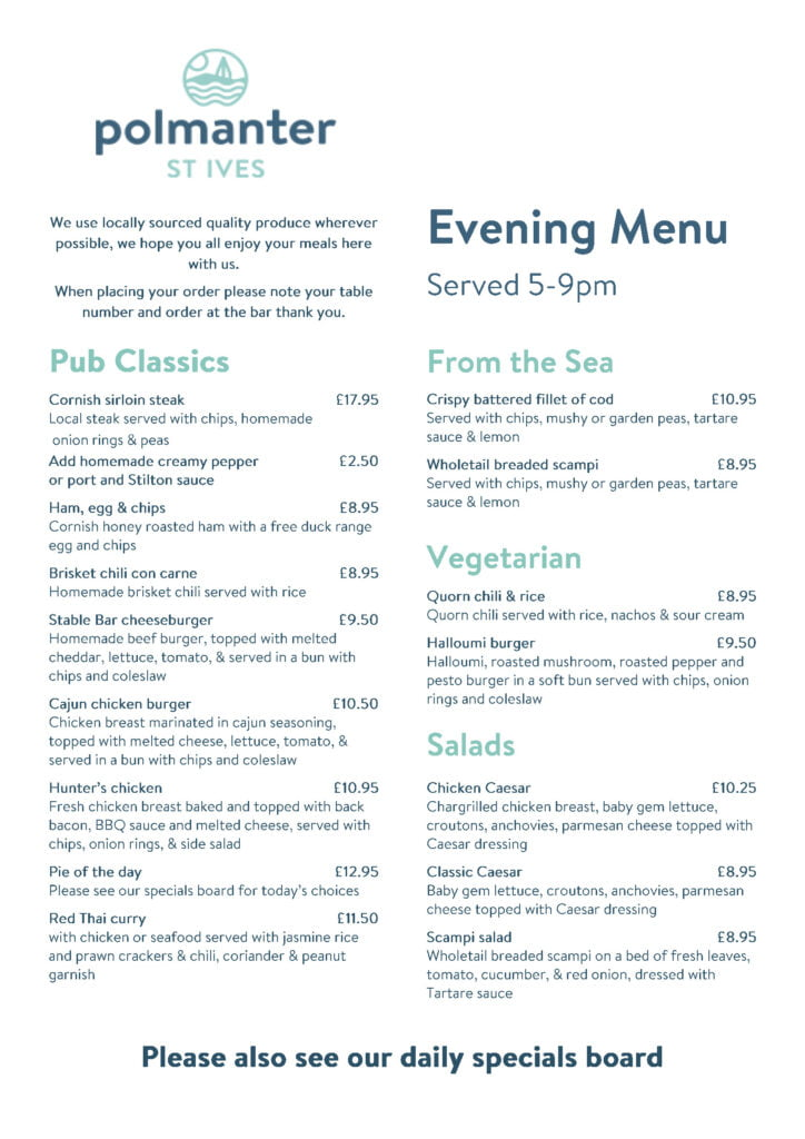The Stable Bar's Evening Menu Page 1