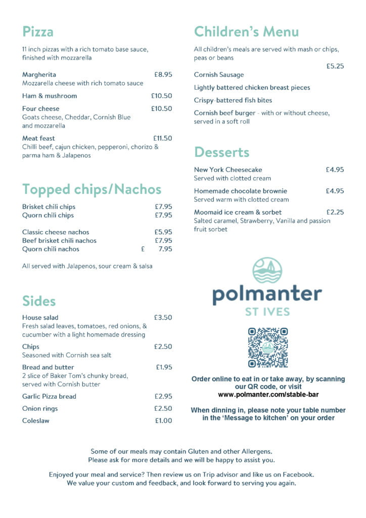 The Stable Bar's Evening Menu Page 2