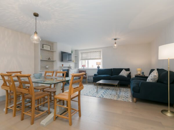 Open plan dining and living room area in Polmanter Touring Park