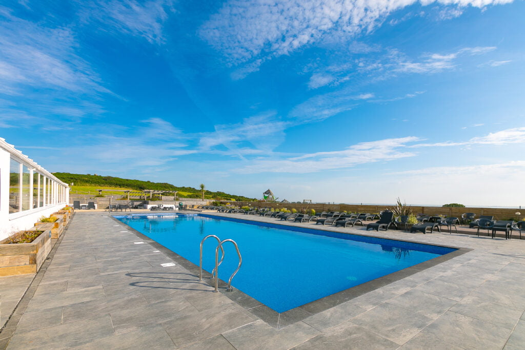 Outdoor heated swimming pool at Polmanter Touring Park