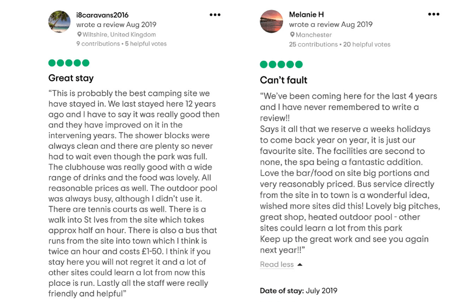 August Tripadvisor reviews from guests that have stayed at Polmanter Touring Park