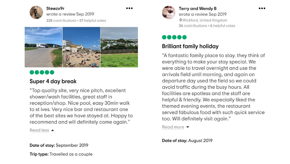 September Tripadvisor reviews from guests that have stayed at Polmanter Touring Park