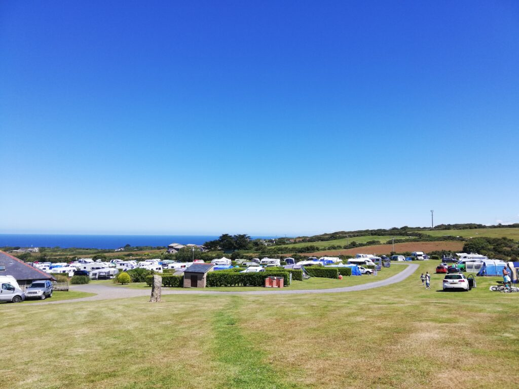 Views from the top of the Morvah field across Polmanter Touring Park in St Ives
