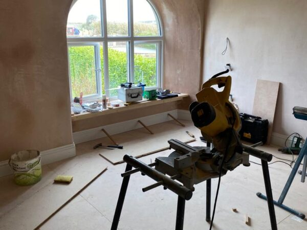 Polmanter holiday cottage renovation in the second bedroom with plastered walls