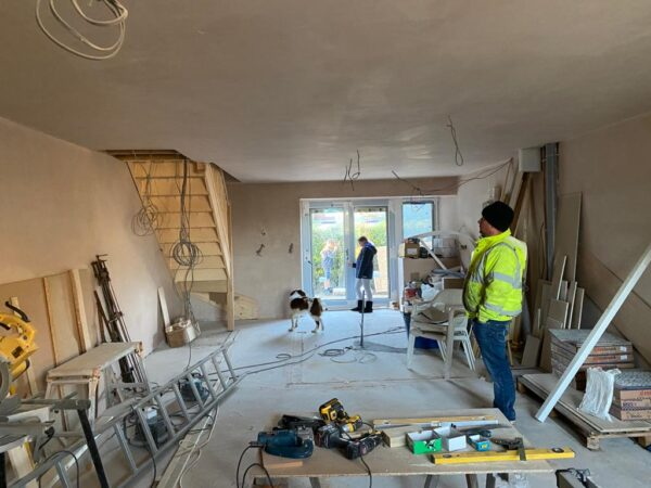 Polmanter holiday cottage renovation on the ground floor is now plastered
