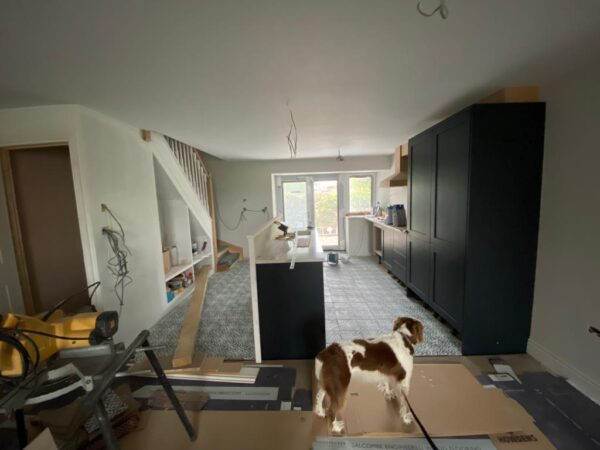 Polmanter holiday cottage renovation on the ground floor sees the kitchen starting to be fitted