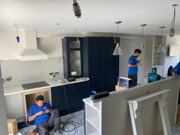 Polmanter holiday cottage renovation on the ground floor sees the team at work finishing off the kitchen