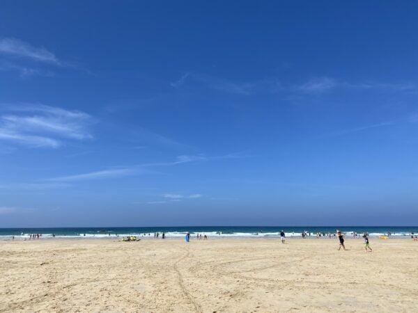 Blue sky on Porthmeor Beach h St Ives
