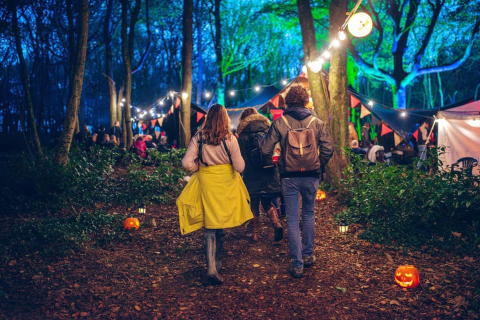 Couple walking into dark woods, lit with string lighting, for the Rogue Theatre's half term performance