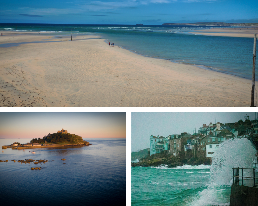 Trio of images showing the Cornish coastline during St Ives winter breaks