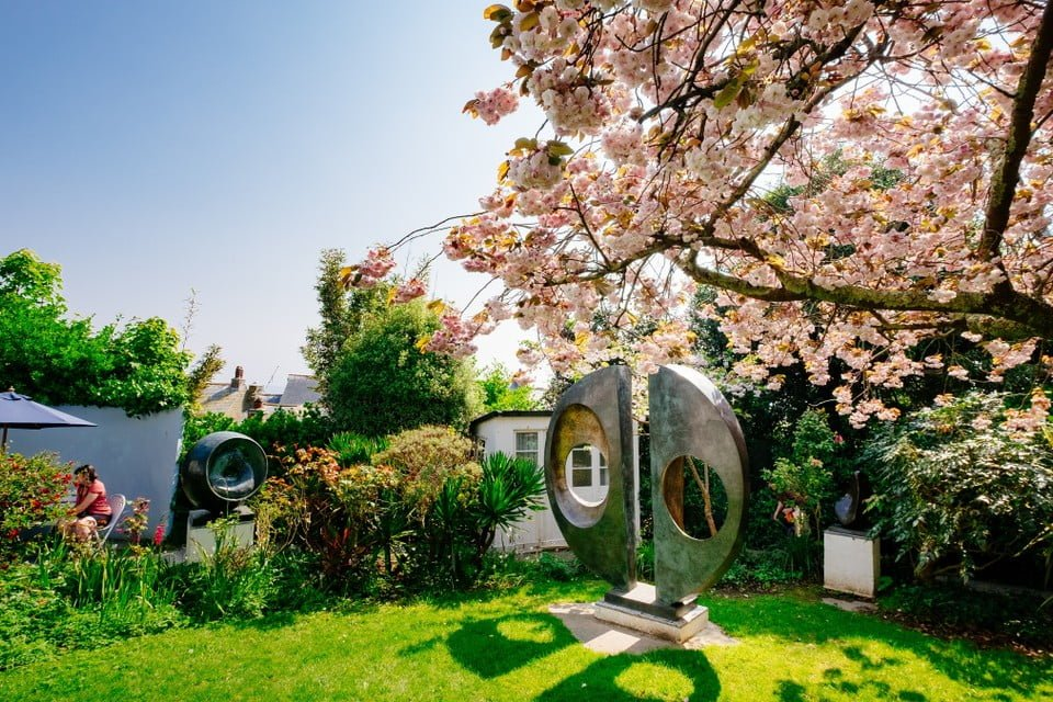 Barbara Hepworth sculpture located in her gardens at the St Ives attraction