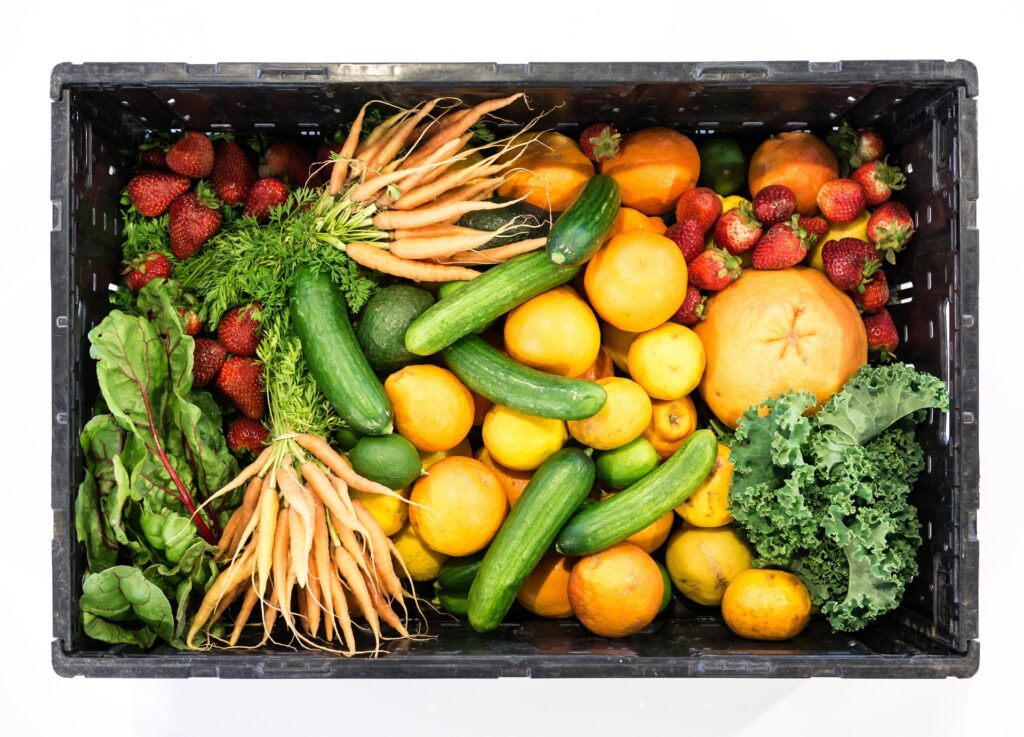 Box of vegetables sold from St Ives farm shops