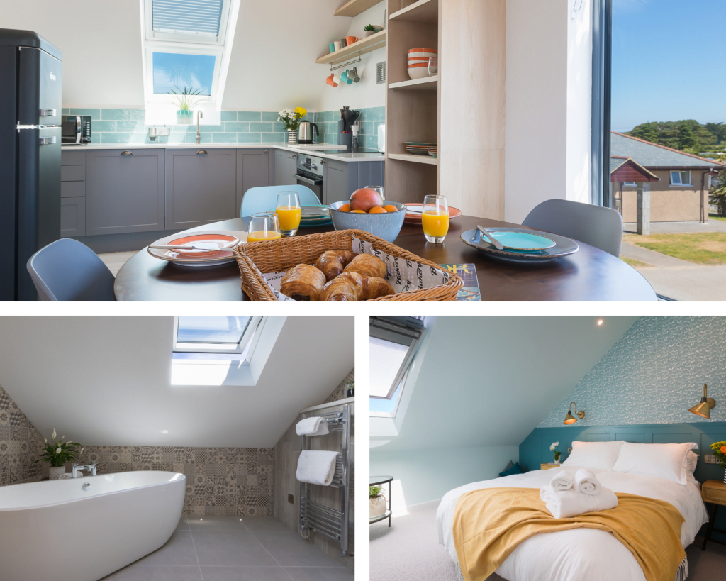 Trio of images for luxury self catering apartments, available for St Ives winter breaks