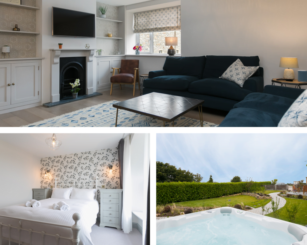 Trio of images for luxury self catering cottage, available for St Ives winter breaks