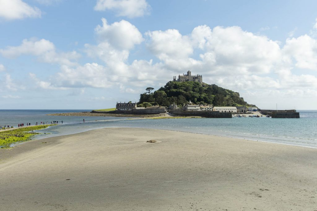 St Michaels Mount is a castle on an island surrounded by water near st ives