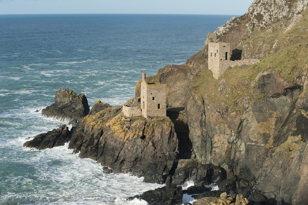 Engine houses on the Botallack Cornish coastline near St Ives