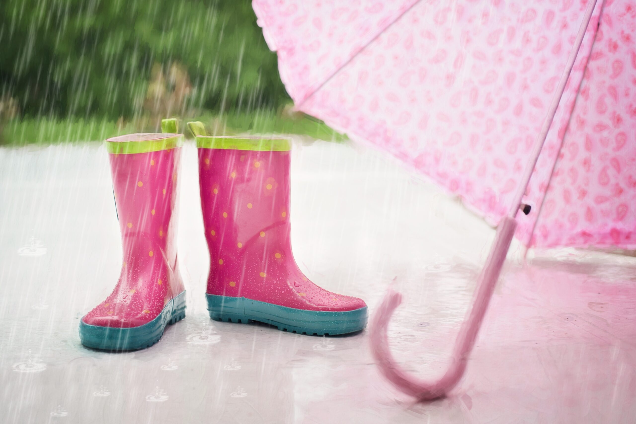 Wellington boots and umbrella for rainy days in Cornwall